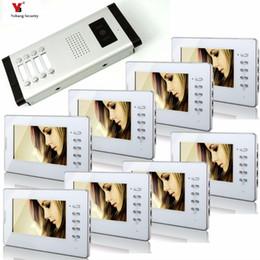 porte de sécurité blanche Promotion Yobang Security 7 pouces couleur filaire vidéo carillon de porte sonnette, porte de téléphone à l'épreuve de la pluie pour 8 unités blanches Villa appartement Interphone