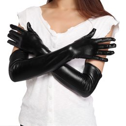 Wholesale White Leather Costume - 2 Colors Women's Sexy Faux Long Leather Gloves Fashion Black Ladies Sexy Elbow Gloves Adults Clubwear Party Costume Accessory