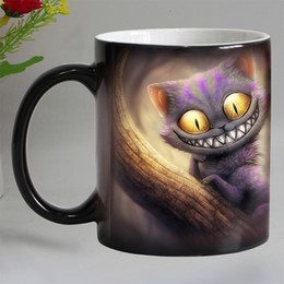 Wholesale Animal Mugs - Free Shipping Smile Cat Animal Heat Sensitive Coffee Mug Cup Porcelain Magic Color Changing Tea Cups Christmas Gift