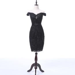 vestidos de chá azul royal blue Desconto 2018 Black Lace Tea-Comprimento Cocktail Dresses Com Beading Lantejoulas Curto Sexy Senhoras Fora Do Ombro Evening Party Dress Prom Vestido De Coctel