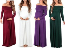 853be6a3d4423 maternity dress photography prop Promo Codes - Maternity Photography Props  Long Dress Solid Long Sleeve Maternity