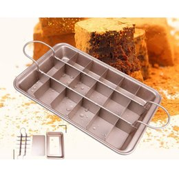 Wholesale mould steels - 18 Holes Metal Brownie Mould Non-Stick Baking Tray High Carbon Steel Sugarcraft Cake Baking Decorating Multifunction DDA642