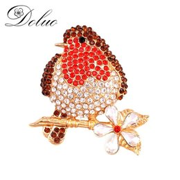 accessories for red dresses NZ - Cute Red Crystal Animal brooch pin rhinestone bird brooch fashion jewelry costume hundred accessories DIY for Dress gift