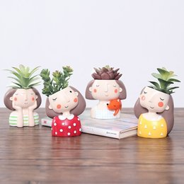 flower cactus Promo Codes - Flower Girl Planter Set - 4pcs European Style Succulent Plants Planter Pot Mini Bonsai Cactus Flower Pot Home Decor Craft