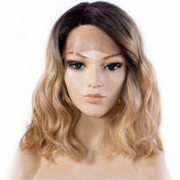 perucas de parte direita Desconto Frete Grátis Ombre Perucas para As Mulheres Curto Bob Ondulado Peruca Dianteira Do Laço Sintético Raízes Escuras para Peruca Loira Olhar Natural Parte Direita Do Cabelo