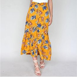 8c4989dde57 buttoned floral maxi dress 2019 - Floral print boho beach long skirt women  Button high waist Find Similar