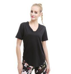 Argentina Las mujeres atractivas de yoga de manga corta camiseta Fitness Gym Running Tops negro camiseta de secado rápido ropa deportiva de encaje trasero Suministro