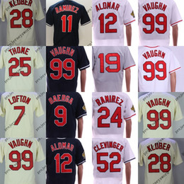Wholesale 99 free - Mens Cleveland Jersey 7 Kenny Lofton 11 Jose Ramirez 25 Jim Thome 28 Corey Kluber 99 RickyVaughn Baseball Jerseys Cheap Free Shipping