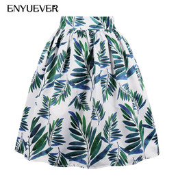 6326d79553f Enyuever Plus Size Casual Skirts Womens Floral Green Leaf Print Summer  Pleated Retro 50s Vintage Skater Party Midi Skirt Pockets