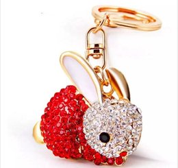 Wholesale full purse - beijia Lovely Rabbit Full Crystal Keychains Keyrings Key Chains Purse Bag Pendant For Car Women llaveros Lindo Chaveiro K251