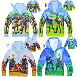 Wholesale boys zipper hoodie - Baby boys Fortnite print coats 2018 autumn kids Hoodies Cardigan zipper shirt Jacket children Outwear kids Clothing 10 colors C4482