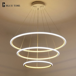 Luces de techo para comedor online-40 cm 60 cm 80 cm luces modernas colgantes para sala de estar comedor anillos circulares cuerpo de aluminio acrílico LED accesorios de la lámpara de techo
