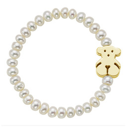 Wholesale Indian Bears - Good quality white pearls beads bracelet with stainless steel bear pendant never fade women bangle bracelet
