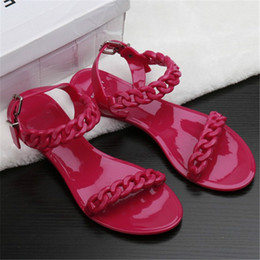 Wholesale Red Plastic Chain - Women Fashion Plastic Chain Beach Sandals Candy Color Jelly Sandals Chain Flat Bottomed Out Sandals