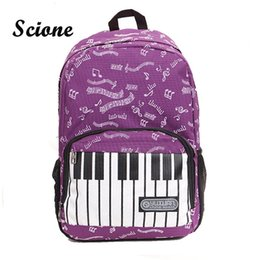 Wholesale Piano Bags - Wholesale- 2017 Fashion Piano Design Music Note Cute Printing Backpack Women Travel Laptop Rucksack Student Canvas School Book Bags JXY825