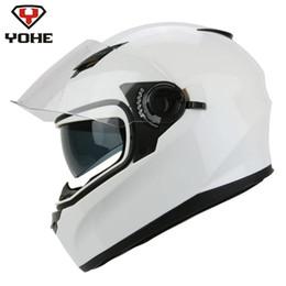 xl motocicleta capacetes dupla viseiras Desconto YOHE Motocicleta Capacete Rosto Completo Casco Moto Casque Moto Capacetes Dual Visores Branco Capacetes De Motociclista Motoqueiro Corrida