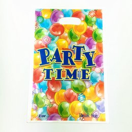 Wholesale Shopping Bags For Kids - Wholesale- 6pcs birthday party theme PE printed plastic candy bags,shopping gift bag for Kids happy birthday event party supplies