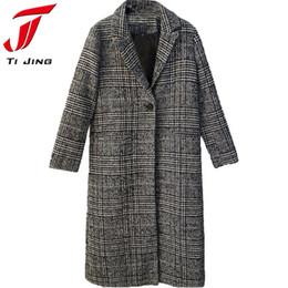 Wholesale houndstooth coat xl - Women Winter Coats Jackets warm wool blends vintage Houndstooth Oversized High Quality Winter Long Coat Manteau Femme L301