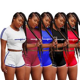 Wholesale gym clothing women - Women Cham pion Shorts Tracksuit letter Crop Top Summer Outfit T shirt + Shorts Short Pants 2PCS Set Sexy GYM Sportswear Clothes Suit