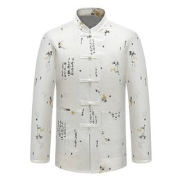 Wholesale traditional chinese dress purple - Traditional Chinese Characters Printed Stand Collar Social Men's Shirt Casual Stand Collar Long Sleeve Tang Kung Fu Shirts Men
