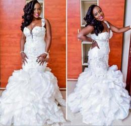 Wholesale one shoulder organza wedding dresses - African Plus Size Wedding Dresses Sweetheart Ruffles Lace Appliques Mermaid Wedding Dress Sleeveless Zipper Back Beads Arabic Bridal Gowns