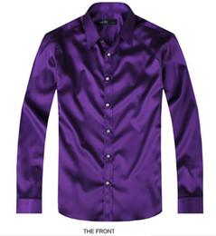 2019 longues robes de mariée en soie pourpre 2017 Purple Luxury la chemise de marié mâle à manches longues chemise de mariage pour hommes partie robe en soie artificielle M-3XL 21 couleurs FZS11 promotion longues robes de mariée en soie pourpre