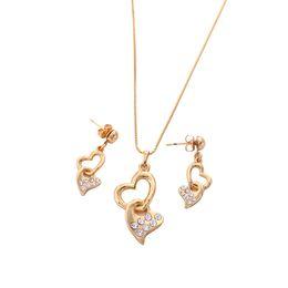 Liebe herz diamant bolzen online-Double Cute Heart Love CZ Diamant-Anhänger Halskette mit Ohrstecker Schmuck-Set