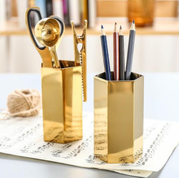 Wholesale Brass Ornaments - Nordic style Hexagon brass gold stainless steel metal vase   pen holder   set of storage tube storage container desk ornament
