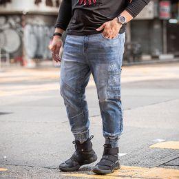 Wholesale Beams Plus - 130kg Men Wear New Spring Beam Leg Jeans Jogger Casual Jeans Men Biker Pant Mens Zipper Fly Ripped Light Blue