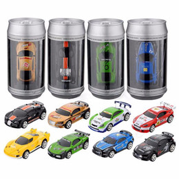 Wholesale high speed cars - Radio Remote Control Racing Vehicle Kids Toys High Speed Mini Coke Can RC Car for Children Xmas Gift with Road Blocks