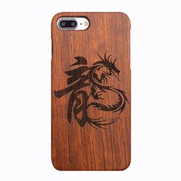 Wholesale Wooden Dragons - For iphone7plus 8plus &iPhone7 8 case, wooden case Unique Genuine Natural Rose Wood Case Hard Bamboo Shockproof Case(Dragon Seal)