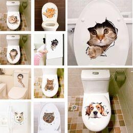 decorazione del bagno di halloween Sconti Adesivi 3D Hole View Cats Stickers murali Vivid Home Decor Soggiorno Bagno WC Frigorifero PVC Adesivi animali Art Poster da parete
