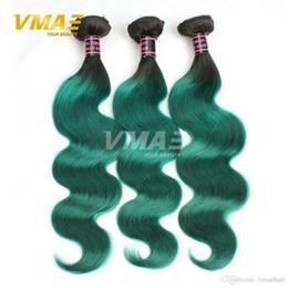 1B Yeşil Brezilyalı Vücut Dalga İnsan Saç 9A Virgin İnsan Saç Uzantıları Ombre Renk Brezilyalı Saç 3 Demetleri Lot VMAE nereden ombre bakire brezilya saç rengi tedarikçiler