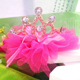 Wholesale Hair Clip Ribbon Design - 2018 New Design Hot Girls Hair Accessories Crown Yarn Bow Chiffon Hairpins Grid Yarn With Ribbon Princess Clip