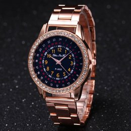 Wholesale Sexy Watches Women - Free Shipping Sexy Women Dress Wristwatch Casual Female Clock With Full Diamond Rose Gold Stainless Steel Quartz Watch Best Gift For Girl