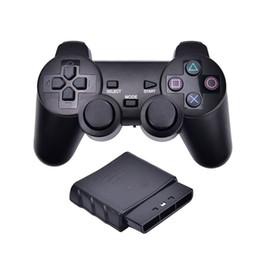 Jogos de playstation ps2 on-line-2.4g sem fio gêmeo jogo controlador de choque joystick gaming joypad para sony ps2 playstation 2