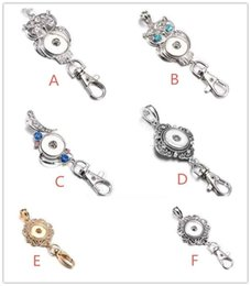 Wholesale Metal Chain Lanyards - Noosa Snap Button Jewelry Beautiful Gold Snap Key Chains Crystal 18MM Snap Button Keychains Key Rings Lanyard Keyring for Women