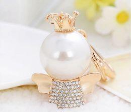 Wholesale Amethyst Cars - Lovely Crown Pearl Angel Keychain Car Keyring Rhinestone Crystal Charm Pendant Key Bag Chain Gift New Fashion