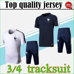 Wholesale track suits jackets - 2018 MBAPPE soccer Tracksuit POGBA MATUIDI Track suits jacket 18 19 GRIEZMANN chandal training suits sports wear Short sleeve survêtement