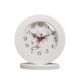 Wholesale silent alarm - 6 Inch White Classic Wooden Silent Table Clock Retro creative Art Desk Clock Home decro