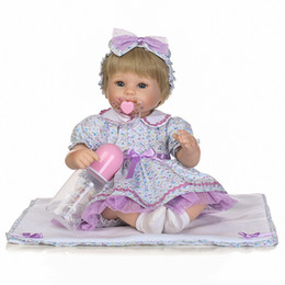 Wholesale Branded Soft Toys - Brand New Simulation Baby Doll Models Lovely Lifelike Girl Toys Soft Glue Character Plastic Skirt Cloth Hair Set Glue