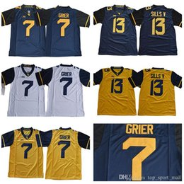 6fee91424 West Virginia Mountaineers 7 Will Grier Jersey 13 David Sills V NCAA  College Men Football Navy Blue Yellow White Stitched XII Size S-3XL