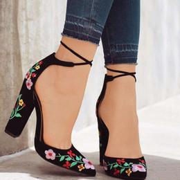 Canada Mode Broder Femmes Pompes Talons hauts Bout Pointu Lace up Cross-cravate Femmes Talons Hauts Élégant Dames Chaussures Femmes supplier embroidered shoes women Offre