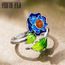 Wholesale Chinese Cloisonne - whole saleGenuine 100% 925 Sterling Silver Chinese Style Cloisonne Female Vintage Open Rings Fashion Jewelry For Women