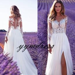 Wholesale High Neck Crystal Wedding Dress - Milla Nova 2018 Beach Wedding Dresses Boho A Line Bridal Gowns Sheer Neck Lace Long Sleeve Split robe de mariage vestido de noiva