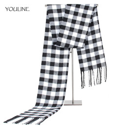 Wholesale winter mufflers men - YOULINE Male Female winter scarf scarf men wool plaid bandana cashmere bandana muffler lovers thick thermal double faced S17214