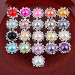 botón de accesorios para el cabello Rebajas 120pcs / Lot Bling redondos redondos decorativos botones de la perla de cristal para accesorios para el cabello botones de diamantes de imitación de metal adornos para el cabello sombreros