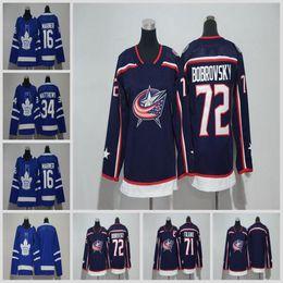 Wholesale Cheap Girls Jackets - Cheap 2018 New Brand Ad Kid Blue Jackets Sergei Bobrovsky Nick Foligno Maple Leafs 16 Mitchell Marner Auston Matthews Blank Blue Hockey Jers