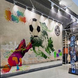 Wholesale Gallery Photos - Custom photo wallpaper Street graffiti mural hip hop soccer tooling background wall corridor gallery sports equipment shop mural