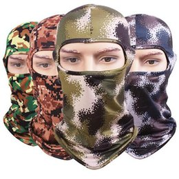 Wholesale Military Face Camouflage - Camouflage Balaclava Ninja Hood Military Camo Balaclava Tactical Balaclava Ski Mask Motorcycle Face Mask for Outdoor Camping Cycling